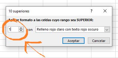 Formato condicional, mostrar sólo el valor más alto en Excel