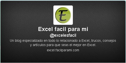 Imagen del twitter de Excel facil para mi