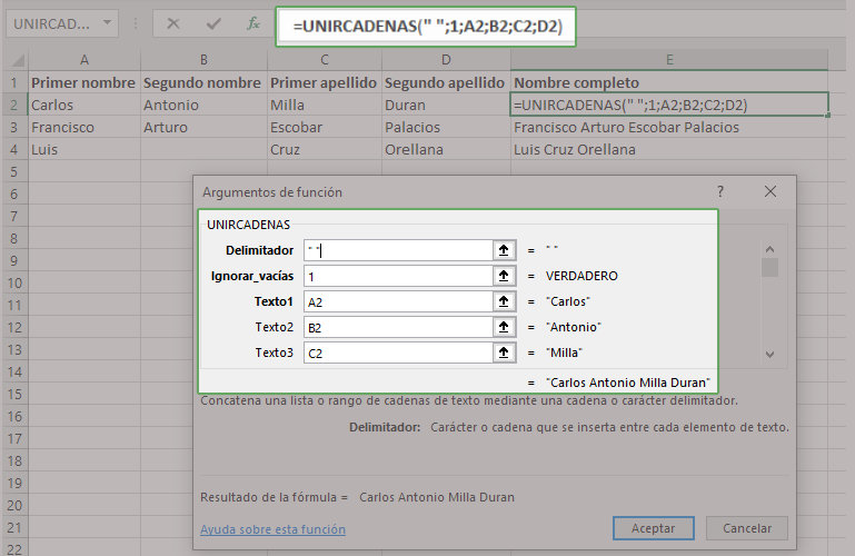 Ejemplo de la función UNIRCADENAS en Exel